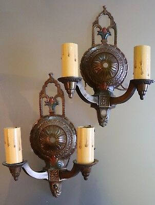 Pair of Pot Metal Regency Style Single Arm double light Sconces Missing Crystals