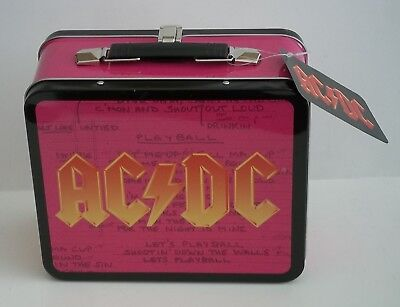 "NEW AC DC Heavy Metal Rock Band Lunch Box Collectors Tin 3.75"" x 7"" x 8"""