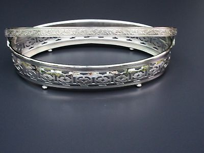 """Silver Plated Footed Oval Serving Dish Insert Stand Basket w Handle 8"""" ½ x 5"""""""