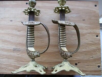 Pair of WWI Imperial German Navy Saber Handles Turned into Candle Stick Holders