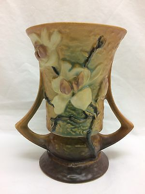 Roseville Magnolia Vase 88 6 Brown 6 Inch Double Handle Original