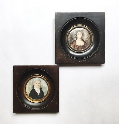 Pair of Antique Miniature Portrait Paintings, One Signed, 19th C. French