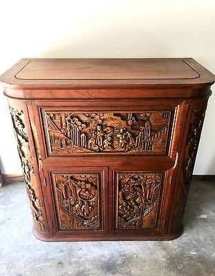 Antique Chinese Hand Carved Cherry Wood Pull Out/Drop Leaf Bar Cabinet. 50s/60s.