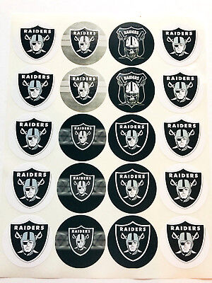 """SET of 100- 2"""" OAKLAND RAIDERS Adhesive Stickers. Make Cupcake Toppers"""