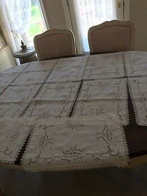 Antique WHITE WORK AND NEEDLE LACE Placemats & Table Runner 13pc STUNNING!