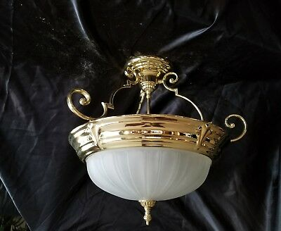 Vtg Large Brass Gold Pendant Ceiling Light Fixture Frosted Glass Shade Mcm
