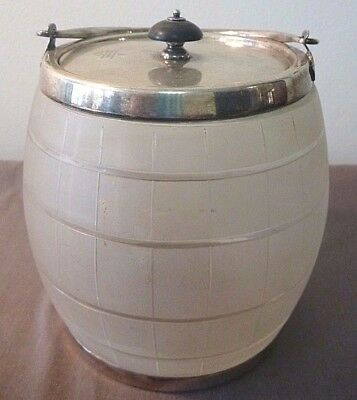 Frosted Glass Biscuit Barrel/Ice bucket w Mappin & Webb handle, lid & base ring
