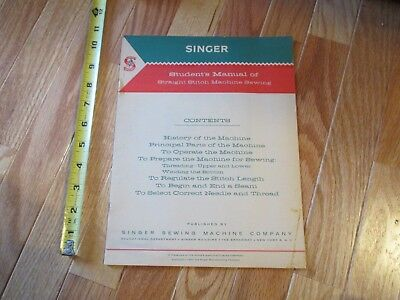 1960 Singer Sewing machine students manual Straight Stitch machine sewing