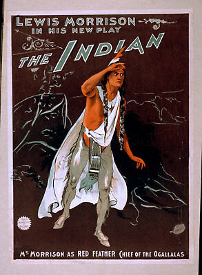 Photo Print Vintage Poster Stage Theatre Flyer Lewis Morrison The Indian 01