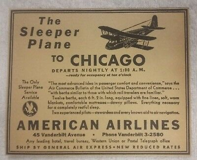 1934 American Airlines Ad Sleeper Plane to Chicago