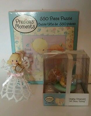 Precious moments ornaments & puzzle  lot:  2 ornaments & 1x 550pcs puzzle