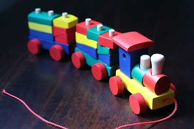 String Pulled Wooden Train. Used. In Good condition.
