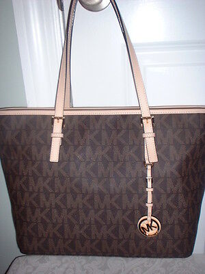 MICHAEL MICHAEL KORS Brown JET SET TRAVEL TOP ZIP Tote Bag Handbag Purse