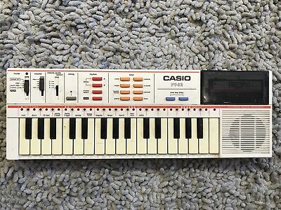 Vintage Casio PT-82 Keyboard Synthesizer White w/ ROM World Songs Tested & Works