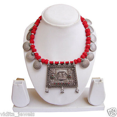 Rajasthani Antique Traditional Tribal Ancient Old Silver Necklace Women Jewelry