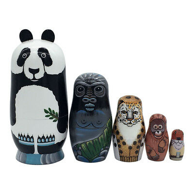 5 Layers Nesting Dolls Wood Panda Hand-painted Russian Matryoshka Toy Kid Gift