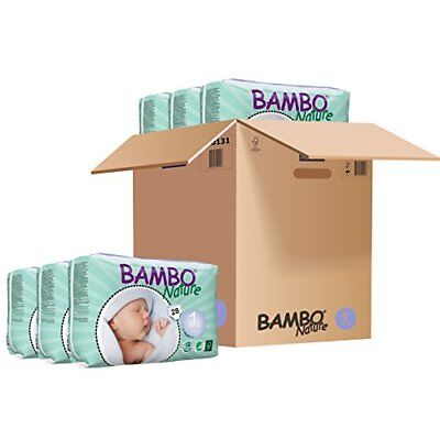 Bambo Nature Newborn Nappies Size 1 (2-4Kg, 4-9lb) - 6 x Packs of 28 (168 Nappie