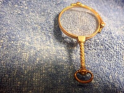14K Art Deco Solid Gold Rare Snap-Out Lorgnette With Copper Bezel!