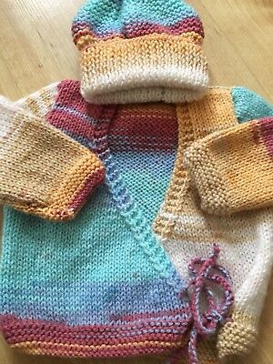 BARGAIN!1 Off ,New hand knitted baby cardigan and bobble hat newborn girl
