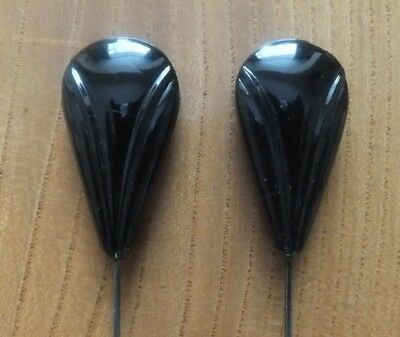 PAIR of GENUINE ANTIQUE HATPINS - BLACK GLASS - PEAR SHAPED.