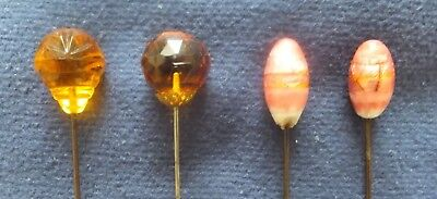 4 x GENUINE ANTIQUE HATPINS - AMBER GLASS and PAIR of PINK GLASS.