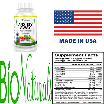 Anxiety Away Anti & Stress Relief Supplement Natural Herbal Blend W Ashwagandha