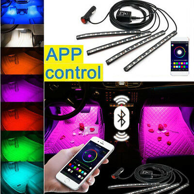 4PCS 48LED RGB Innenbeleuchtung Fußraumbeleuchtung Leisten Phone APP Control 12V