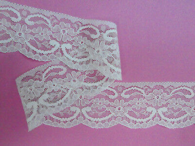 "39.5 METRES CRAFT PACK Quality Pretty Ivory Nottingham Lace Trim 2.25""/5.5cm"