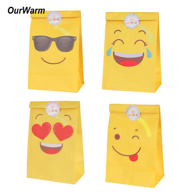60x Emoji Paper Party Bags Loot Sweet Treat Gift Bag Candy Box for Kids Birthday