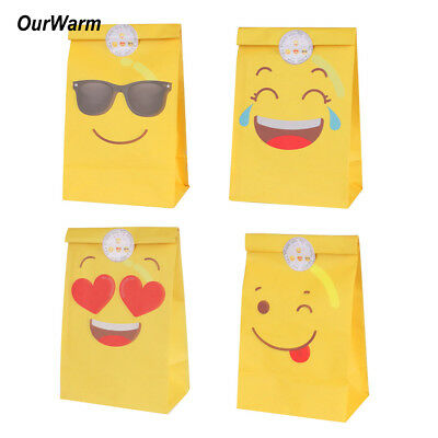 60xEmoji Paper Party Bags Sweet Treat Gift Bag with Stickers Kids Birthday Favor