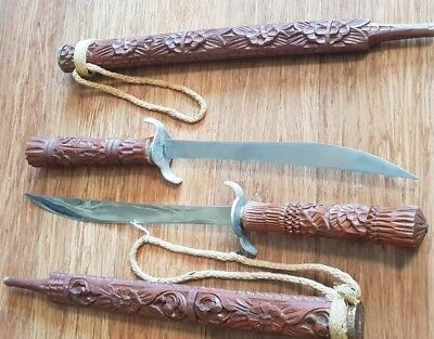 Thai Dha Scabbard Swords Antique VTG Set Excellent Condition Hand Carved Teak