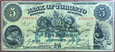 1929 Dominion Of Canada - 5 Dollars Bank Of Toronto Large Banknote !