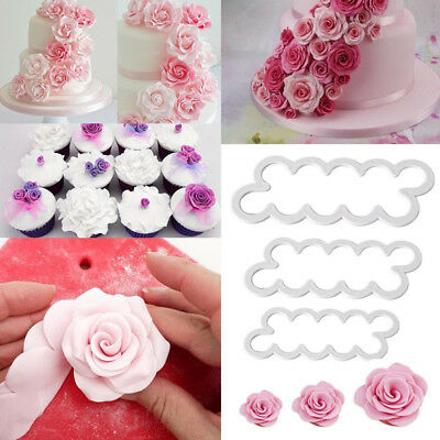 3pcs Emporte-Pieces Rose Petal Sugarcraft Moules A Patisserie Tampon Pour Dec YH