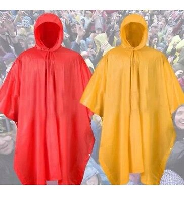1X REUSABLE Heavy Duty  Waterproof PONCHO with Hood-Unisex Hooded Emergency