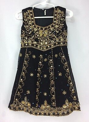 Girl's Indian Pakistani Asian Dress 18 Black with Beading Sequins Lined