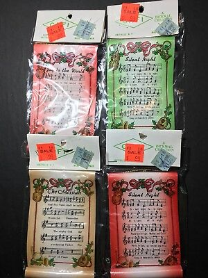 Vintage NOS Christmas Song Scroll Ornaments Silent Night The Messiah Joy To The