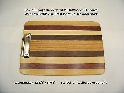 Beautiful Large Handcrafted Multi-Wooden Clipboard With Low Profile clip.
