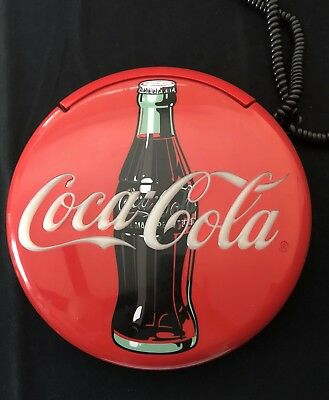 "Vintage Coca Cola Wall or Table Phone 1995 Round Red Retro Kitchen 12"" Soda"
