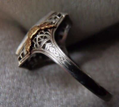 Exquisite Antique Ostby Barton 10K Tricolor Gold Filigree Ring Setting Sz 7