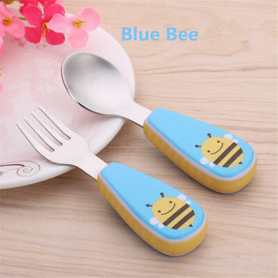 2pcs/ Set Portable Modern Kids Babies Feeding Stainless Steel Spoon Fork Safety