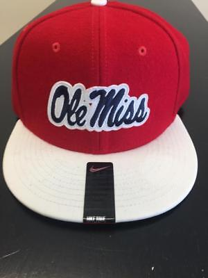 e67b916d38a21 MISSISSIPPI REBELS OLE Miss Red Nike Fitted Flannel Hat Size 7 1 8 ...
