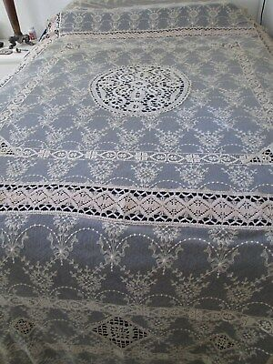 Antique Edwardian Embroidered French Net..Mixed Lace Bedspread/Coverlet