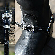 Mark Todd Spur Straps Patent Leather Diamante  Black