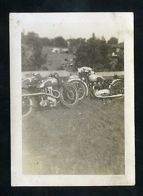 Motorcycles Parked on Side of Road - c1930-40s - Vintage B&W Photo