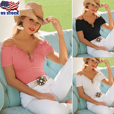 Womens Cold Shoulder Lace V Neck Loose Tops Long Sleeve T-shirt Casual Blouse US