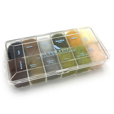SUPER FINE DRY FLY DUBBING DISPENSER - Fly Tying Material Hareline 12 Colors!
