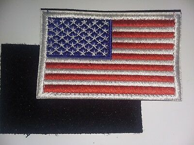 American Flag Embroidered Patch White Border USA US With Velcro BRAND Fastener