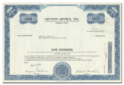 Cryton Optics, Inc. Stock Certificate (Fresnel Lens Light Boxes)