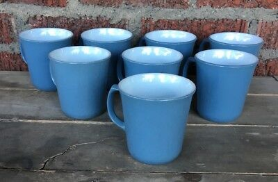 "Vintage Set Of 8 PYREX Slate Blue D Handle Coffee Cup Mugs 3-5/8"" Corning USA"