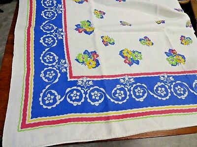 Vintage Large Mid Century Linen Tablecloth 102 x 68 Red Blue Green Yellow White